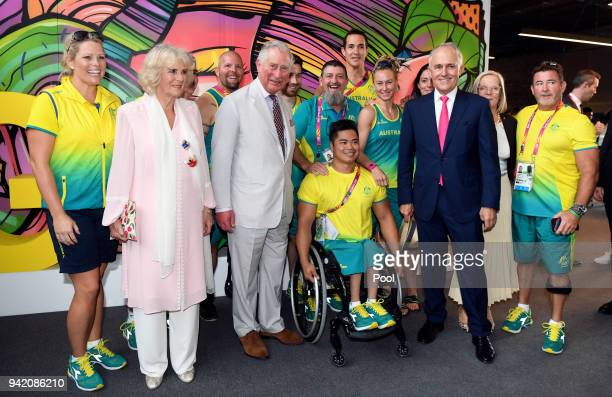 Camilla Duchess of Cornwall Prince Charles Prince of Wales and Australian Prime Minister Malcolm Turnbull pose with athletes during a visit to...