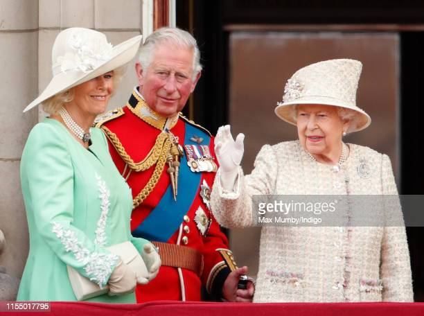 Camilla, Duchess of Cornwall, Prince Charles, Prince of Wales and Queen Elizabeth II watch a flypast from the balcony of Buckingham Palace during...