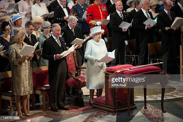 Camilla, Duchess of Cornwall, Prince Charles, Prince of Wales and Queen Elizabeth II during a service of thanksgiving to mark the Queen's Diamond...