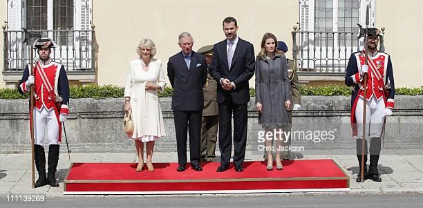 Camilla Duchess of Cornwall Prince Charles Prince of Wales pose with Princess Letizia Princess of Asturias and Prince Felipe Prince of Asturias at...