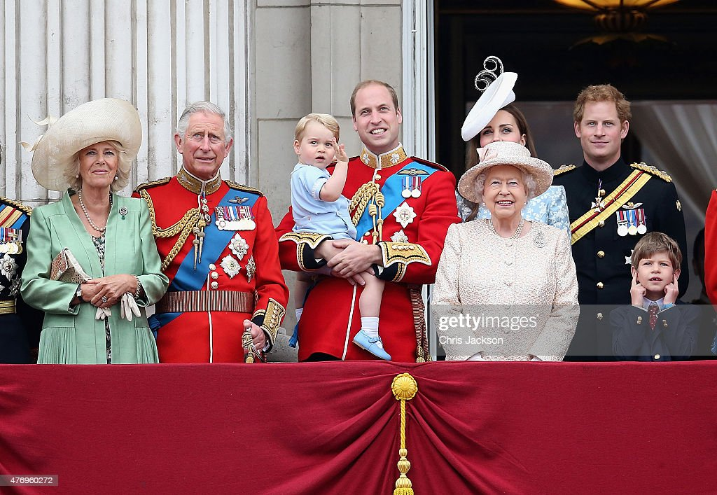 Camilla, Duchess of Cornwall, Prince Charles, Prince of Wales, Prince George of Cambridge,Prince William, Duke of Cambridge, Catherine, Duchess of Cambridge, Queen Elizabeth II, Prince Harry and Prince Philip, Duke of Edinburgh look out on the balcony of uckingham Palace during the Trooping the Colour on June 13, 2015 in London, England. . The ceremony is Queen Elizabeth II's annual birthday parade and dates back to the time of Charles II in the 17th Century when the Colours of a regiment were used as a rallying point in battle.