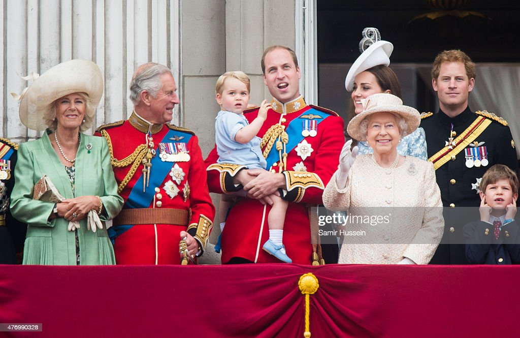 Camilla, Duchess of Cornwall, Prince Charles, Prince of Wales, Prince George of Cambridge, Prince William, Duke of Cambridge Catherine, Duchess of Cambridge, Queen Elizabeth II and Prince Harry look on from the balcony during the annual Trooping The Colour ceremony at Horse Guards Parade on June 13, 2015 in London, England.