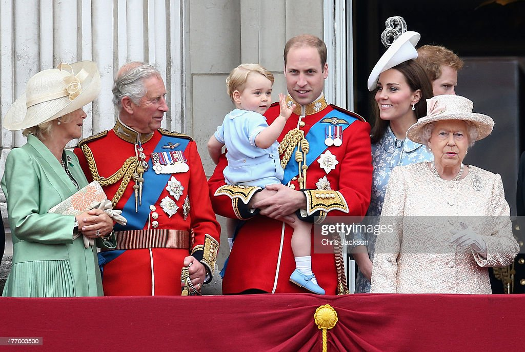 Camilla, Duchess of Cornwall, Prince Charles, Prince of Wales, Prince George of Cambridge,Prince William, Duke of Cambridge, Catherine, Duchess of Cambridge, Queen Elizabeth II, Prince Harry look out on the balcony of Buckingham Palace during the Trooping the Colour on June 13, 2015 in London, England. . The ceremony is Queen Elizabeth II's annual birthday parade and dates back to the time of Charles II in the 17th Century when the Colours of a regiment were used as a rallying point in battle.