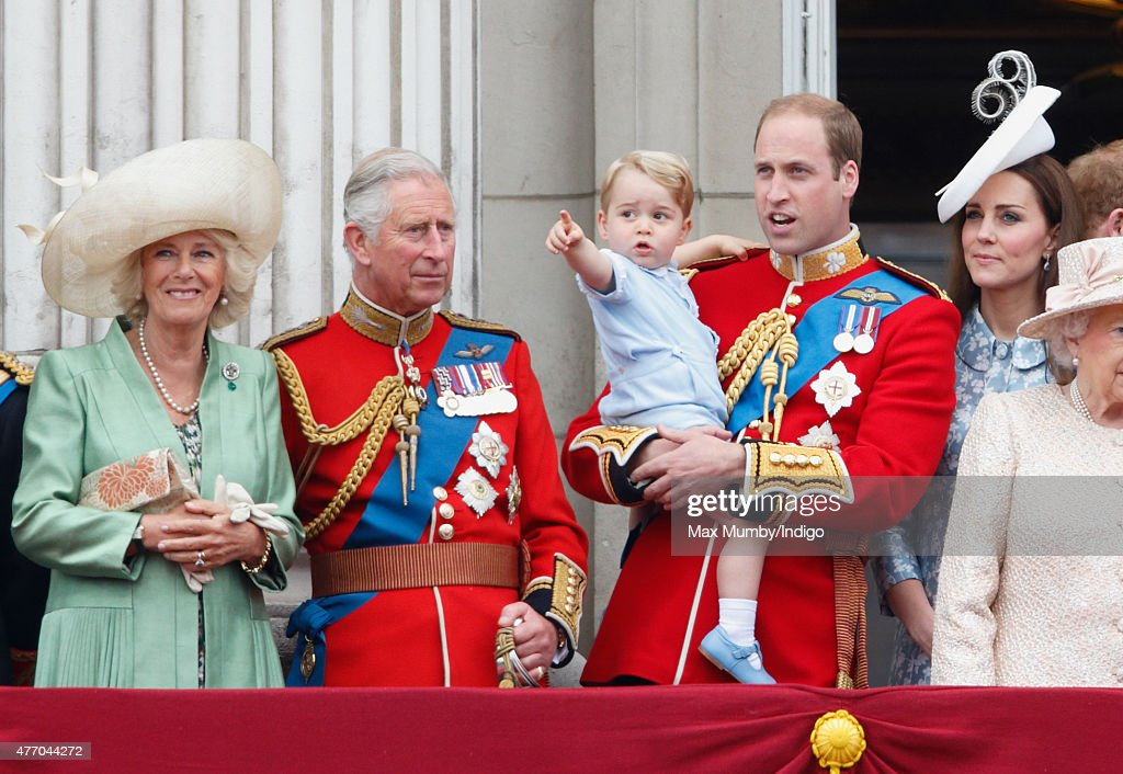 Camilla, Duchess of Cornwall, Prince Charles, Prince of Wales, Prince William, Duke of Cambridge, Prince George of Cambridge and Catherine, Duchess of Cambridge stand on the balcony of Buckingham Palace during Trooping the Colour on June 13, 2015 in London, England. The ceremony is Queen Elizabeth II's annual birthday parade and dates back to the time of Charles II in the 17th Century, when the Colours of a regiment were used as a rallying point in battle.