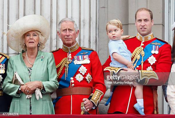 Camilla Duchess of Cornwall Prince Charles Prince of Wales Prince William Duke of Cambridge and Prince George of Cambridge stand on the balcony of...