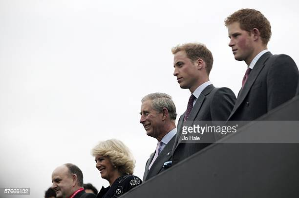 Camilla, Duchess of Cornwall, Prince Charles, Prince of Wales, Prince William and Prince Harry attend The Prince's Trust 30th Live concert held at...