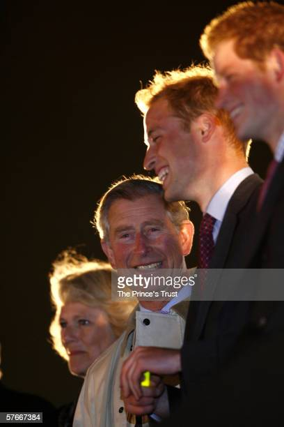 LONDON MAY 20 TRH Camilla Duchess of Cornwall Prince Charles Prince of Wales Prince William and Prince Harry watch the Bee Gees perform on stage...