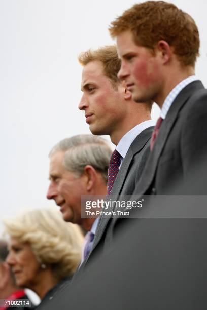 Camilla, Duchess of Cornwall, Prince Charles, Prince of Wales, Prince William and Prince Harry watch the Bee Gees perform on stage during The...