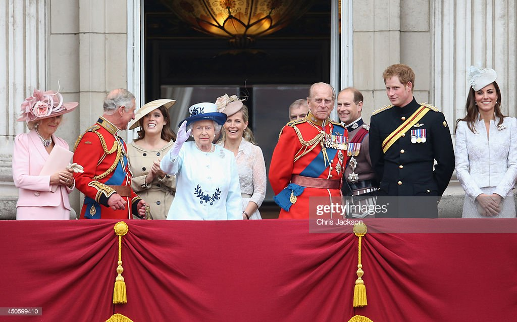 Camilla, Duchess of Cornwall, Prince Charles, Prince of Wales, Princess Eugenie, Queen Elizabeth II, Sophie, Countess of Wessex, Prince Philip, Duke of Edinburgh, Prince Edward, Earl of Wessex, Prince Harry and Catherine, Duchess of Cambridge look on from the balcony during Trooping the Colour - Queen Elizabeth II's Birthday Parade, at The Royal Horseguards on June 14, 2014 in London, England.