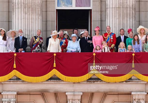 Camilla Duchess of Cornwall Prince Charles Prince of Wales Princess Eugenie of York Queen Elizabeth II Vice Admiral Timothy Laurence Princess...