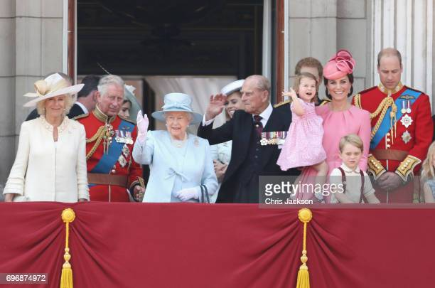 Camilla, Duchess of Cornwall, Prince Charles, Prince of Wales, Queen Elizabeth II, Prince Philip, Duke of Edinburgh, Prince Harry, Princess Charlotte...