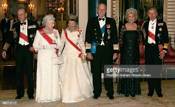 Camilla Duchess of Cornwall Prince Charles The Prince of Wales Queen Elizabeth II and Prince Philip the Duke of Edinburgh welcome Queen Sonja and...