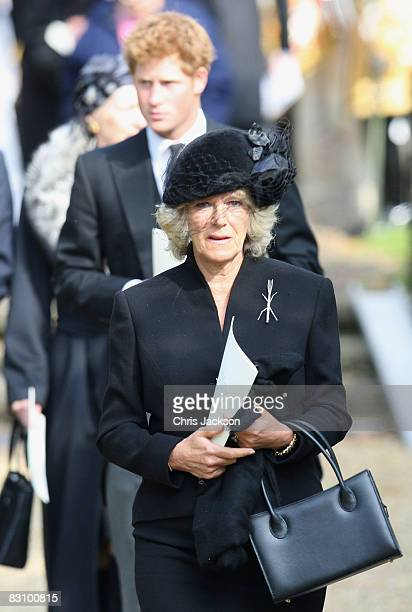 Camilla Duchess of Cornwall Prince Harry and Prince Charles Prince of Wales attend a thanksgiving service for Gerald Ward godfather of Prince Harry...