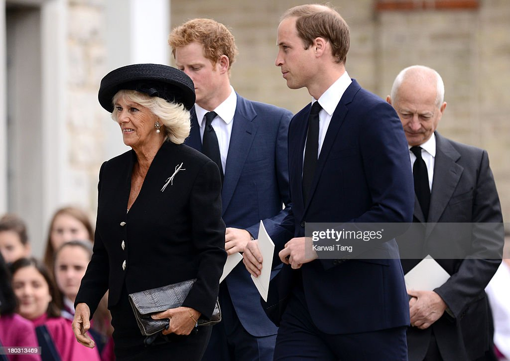 Camilla, Duchess of Cornwall, Prince Harry and Prince William, Duke of Cambridge attend a Requiem Mass for Hugh van Cutsem who passed away on September 2nd 2013 at Brentwood Cathedral on September 11, 2013 in Brentwood, England.