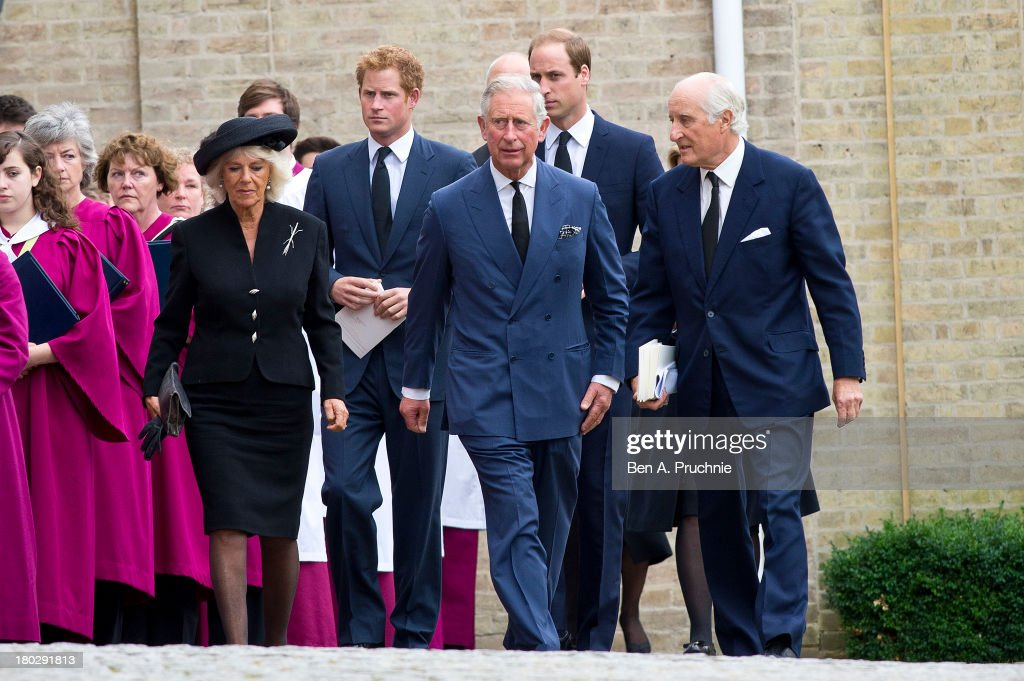 Camilla, Duchess of Cornwall, Prince Harry, Prince Charles, Prince of Wales and Prince William, Duke of Cambridge attend a requiem mass for Hugh van Cutsem who passed away on September 2nd 2013 at Brentwood Cathedral on September 11, 2013 in Brentwood, England.