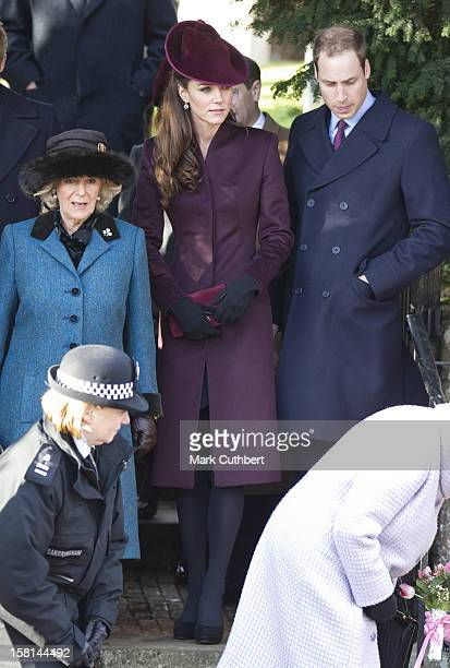 Camilla, Duchess Of Cornwall, Prince William And Catherine, Duchess Of Cambridge Attend St Mary Magdalene Church, On The Royal Estate In Sandringham,...
