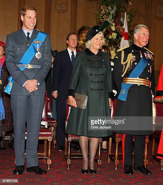 Camilla, Duchess of Cornwall, Prince William and Prince Charles, Prince of Wales attend a reception at London Guildhall after a Service of...