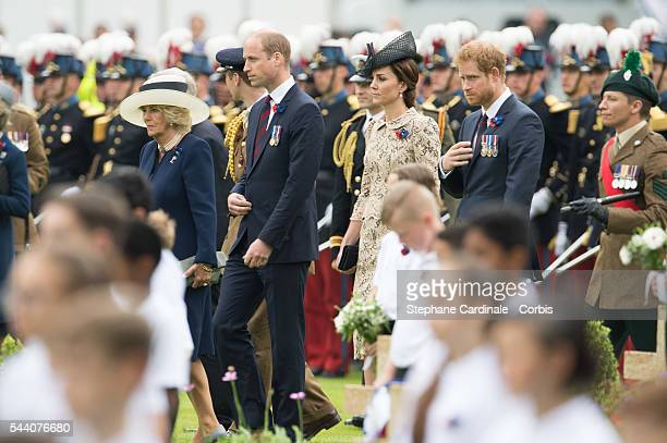 Camilla Duchess of Cornwall Prince William Duke of Cambridge Catherine Duchess of Cambridge and Prince Harry during the Commemoration of the...