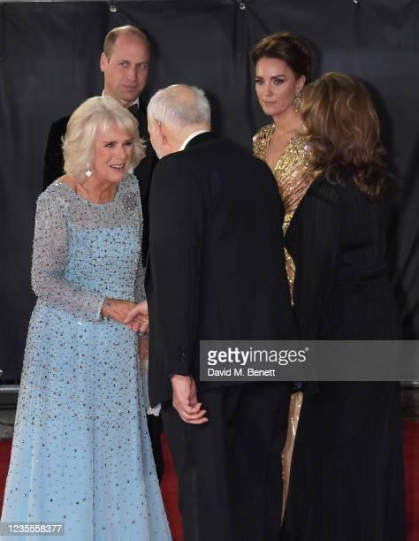 Camilla, Duchess of Cornwall, Prince William, Duke of Cambridge,, Michael G. Wilson, Catherine, Duchess of Cambridge and Barbara Broccoli attend the...