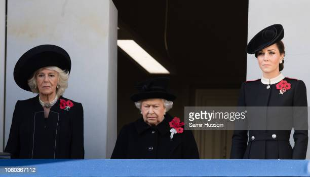 Camilla Duchess of Cornwall Queen Elizabeth II and Catherine Duchess of Cambridge attend the annual Remembrance Sunday memorial on November 11 2018...