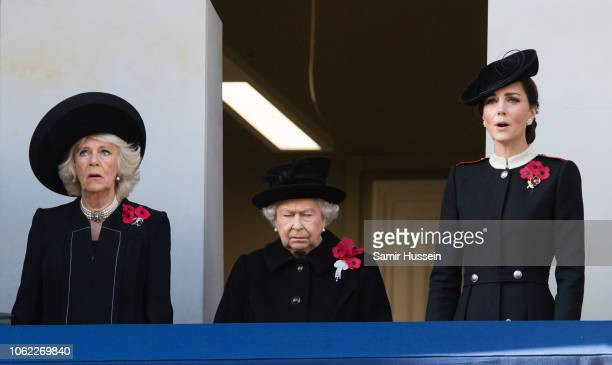 Camilla Duchess of Cornwall Queen Elizabeth II and Catherine Duchess of Cambridge during the annual Remembrance Sunday memorial on November 11 2018...