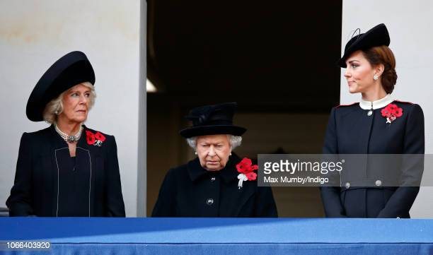 Camilla Duchess of Cornwall Queen Elizabeth II and Catherine Duchess of Cambridge attend the annual Remembrance Sunday Service at The Cenotaph on...
