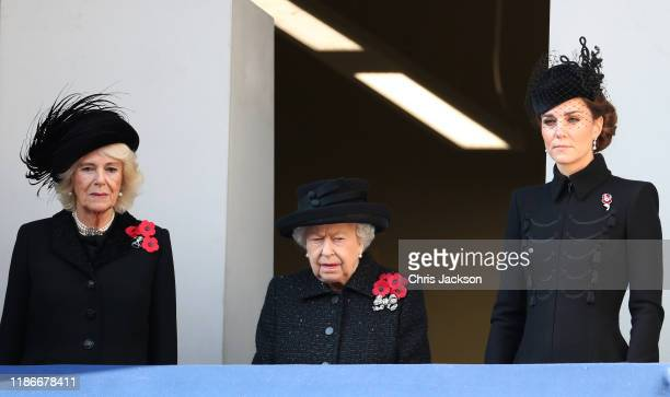 Camilla, Duchess of Cornwall, Queen Elizabeth II and Catherine, Duchess of Cambridge attend the annual Remembrance Sunday memorial at The Cenotaph on...