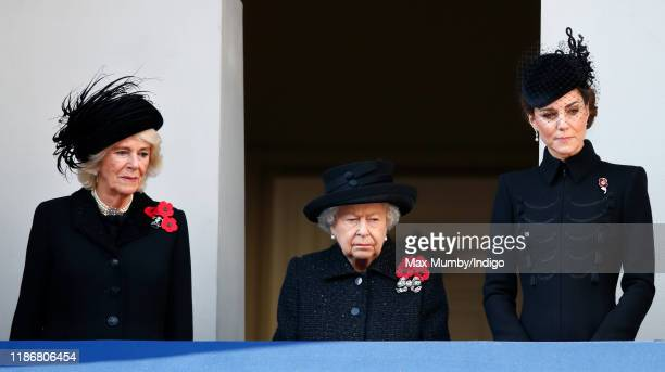 Camilla, Duchess of Cornwall, Queen Elizabeth II and Catherine, Duchess of Cambridge attend the annual Remembrance Sunday service at The Cenotaph on...