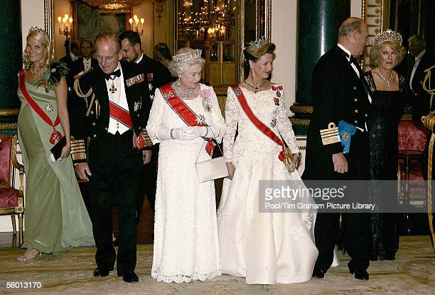 Camilla Duchess of Cornwall Queen Elizabeth II and Prince Philip the Duke of Edinburgh welcome Crown Princess MetteMarit Crown Prince Haakon Queen...