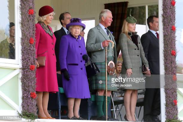 Camilla Duchess of Cornwall Queen Elizabeth II Prince Charles Prince of Wales Autumn Phillips and Peter Phillips during the 2019 Braemar Highland...
