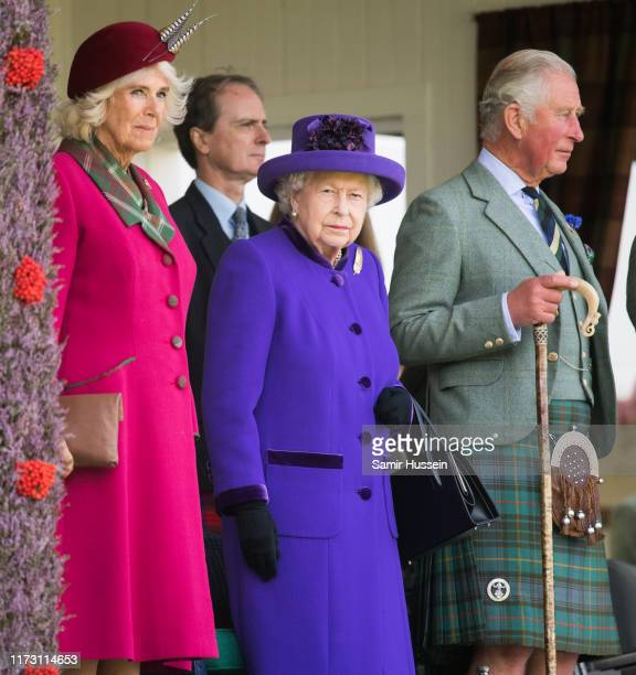 Camilla Duchess of Cornwall Queen Elizabeth II Prince Charles Prince of Wales attend the 2019 Braemar Highland Games on September 07 2019 in Braemar...