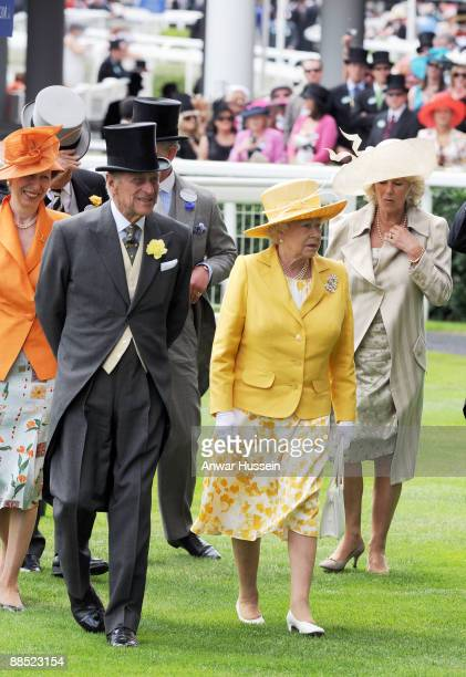Camilla Duchess of Cornwall Queen Elizabeth ll Prince Philip Duke of Edinburgh and Princess Anne Princess Royal attend the first day of Royal Ascot...