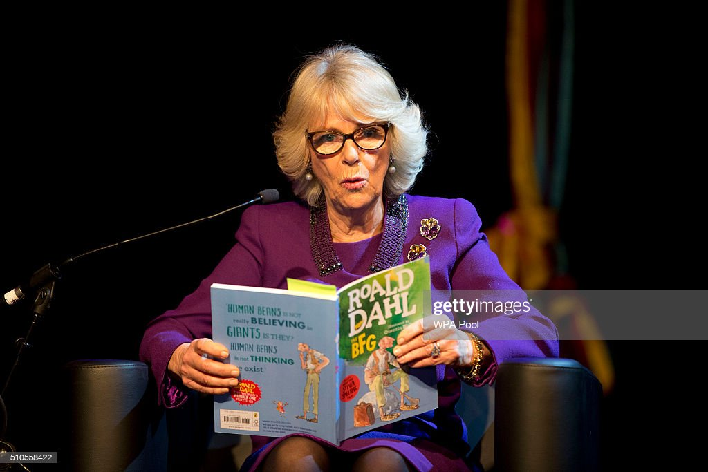 Camilla, Duchess of Cornwall reads during a preview of the new 'Wondercrump World of Roald Dahl' exhibition which celebrates the author's Centenary at the Southbank Centre on February 16, 2016 in London, England.