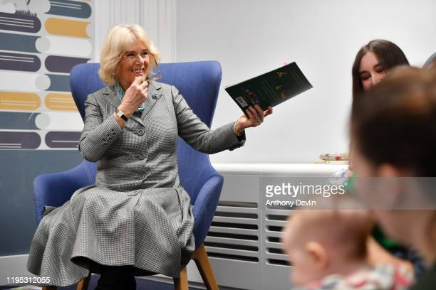 Camilla Duchess of Cornwall reads The Gruffalo by Julia Donaldson to a Tiny Tots group during the official opening of Lichfield Street Hub on January...