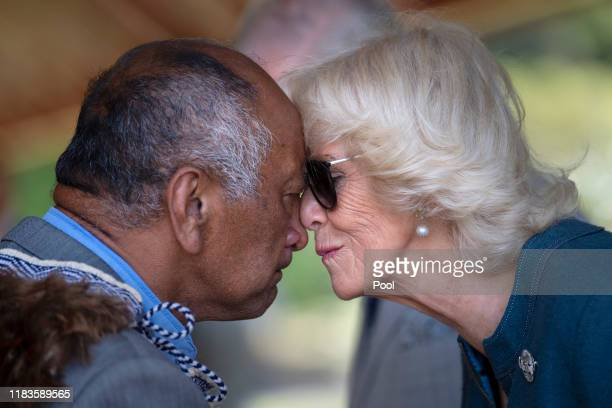 Camilla Duchess of Cornwall receives the Hongi a traditional Maori welcome on November 20 2019 in Waitangi New Zealand The Prince of Wales and...