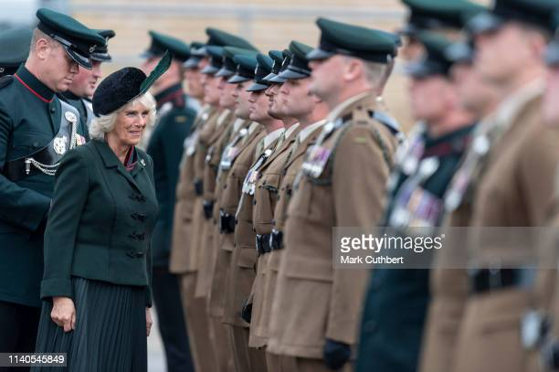 Camilla Duchess of Cornwall Royal Colonel 4th Battalion The Rifles attends The Rifles Medals Parade at Aldershot Military Athletics Stadium on May 1...