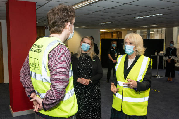 GBR: The Duchess Of Cornwall Meets RVS Volunteers At Wembley Vaccination Centre