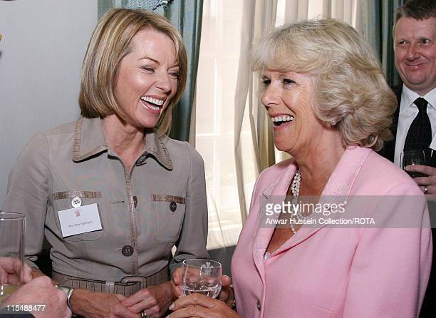 HRH Camilla Duchess of Cornwall shares a joke with Mary Nightingale during a reception for the Royal Television Society at Clarence House in London...