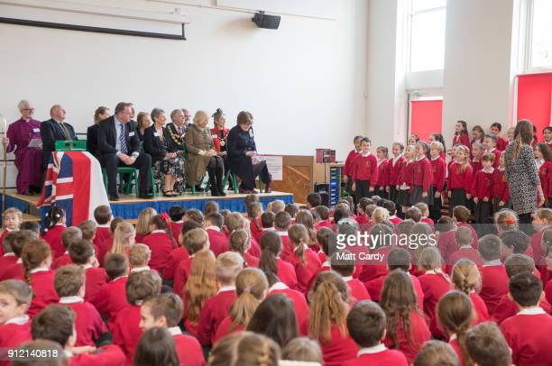 Camilla Duchess of Cornwall sits in assembly as she visits Marlborough St Mary's Church of England Primary School in Marlborough on January 30 2018...