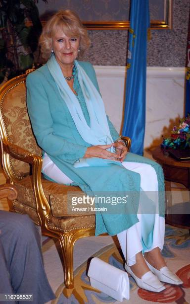 Camilla Duchess of Cornwall sits on a golden seat during a visit to meet the Emir of Kuwait Sheikh Sabah AlSabah at his Palace on February 20 2007