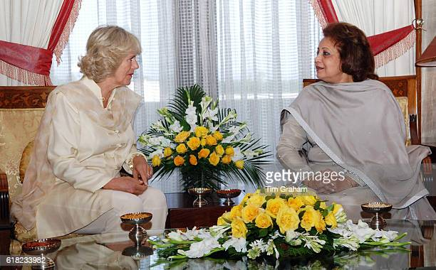 Camilla Duchess of Cornwall sits with the President of Pakistan's wife Sehba Musharraf at the President's Palace