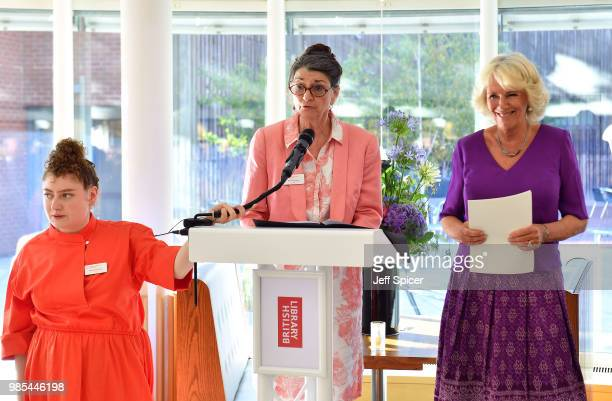 Camilla Duchess of Cornwall smiles as Dame Marina Warner President of Royal Society of Literature speaks and Molly Rosenberg Director of Royal...