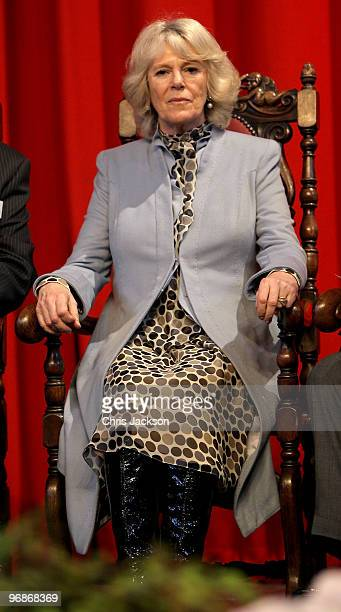 Camilla Duchess of Cornwall smiles as she sit on stage at StokeonTrent Town Hall on February 19 2010 in Stoke on Trent England The Duchess and the...
