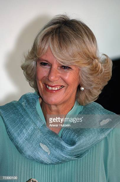Camilla Duchess of Cornwall smiles at the Fatima Jinnah University on the third day of a week long tour of the country on October 31 2006 in...