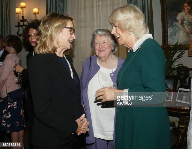 Camilla Duchess of Cornwall speaks to Felicity Kendal and Dame Patricia Routledge during a reception to celebrate the launch of the 'Our Amazing...