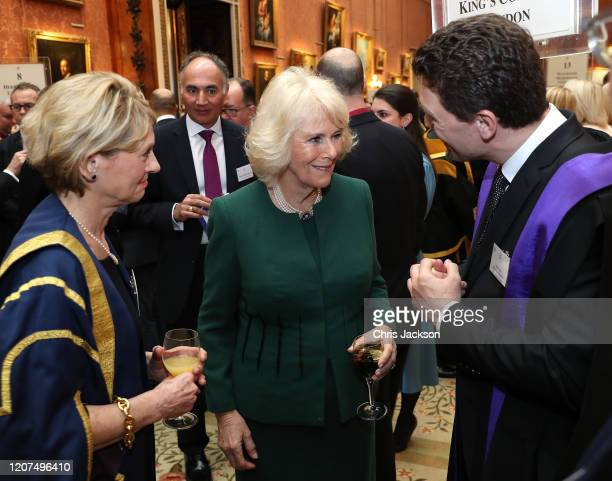 Camilla Duchess of Cornwall speaks to King's College London who won thee prize for Innovations in biomedical engineering and imaging sciences with...
