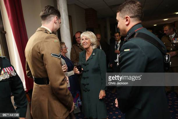 Camilla Duchess of Cornwall speaks to soldiers during a visit to New Normandy Barracks on July 12 2018 in Aldershot England