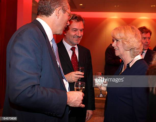 Camilla Duchess of Cornwall speaks with journalists including Tom Mockeridge and John Witherow as she attends A Hard CallingReporting from the...