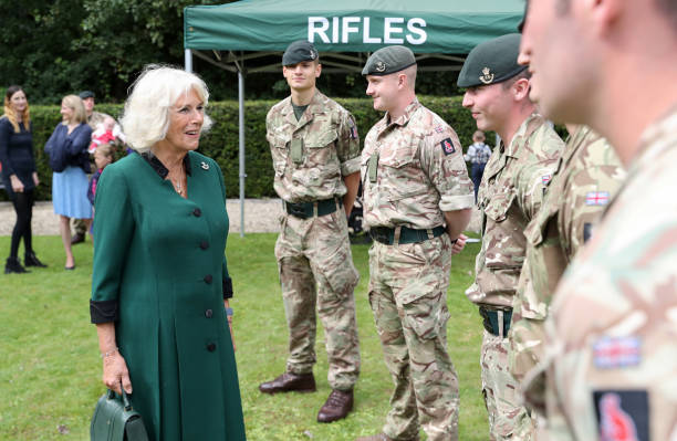 GBR: The Duchess Of Cornwall Visits The 1st Battalion The Rifles