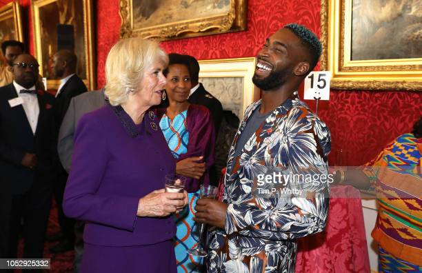 Camilla, Duchess of Cornwall talking with musician Tinie Tempah at a reception to mark their upcoming tour to Gambia, Ghana and Nigeria at St James...